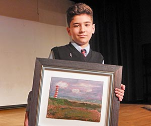 "A ""Best of Show"" award winner and his painting."