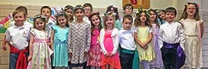 All dressed up to perform the Maypole Dance during the school's annual Shakespeare Festival.