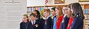 Middle School students line up as they are initiated into the Reid School chapter of the National Junior Honor Society.